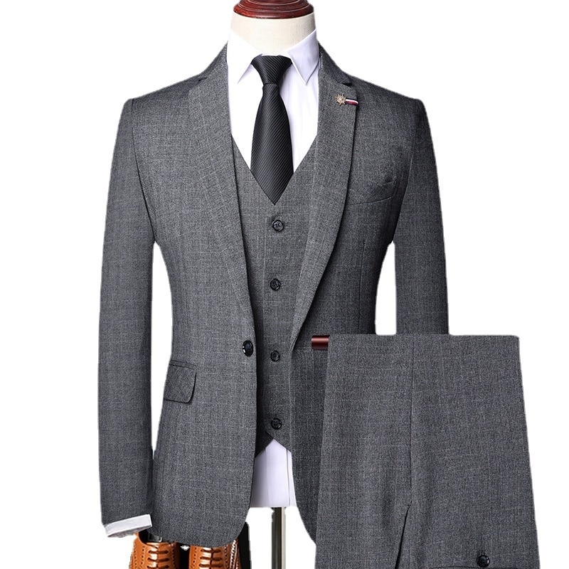 6XL ( Jacket + Vest + Pants ) Retro Gentleman Classic Fashion Plaid Mens Formal Business Slim Suit 3Pces Set Groom Wedding Dress