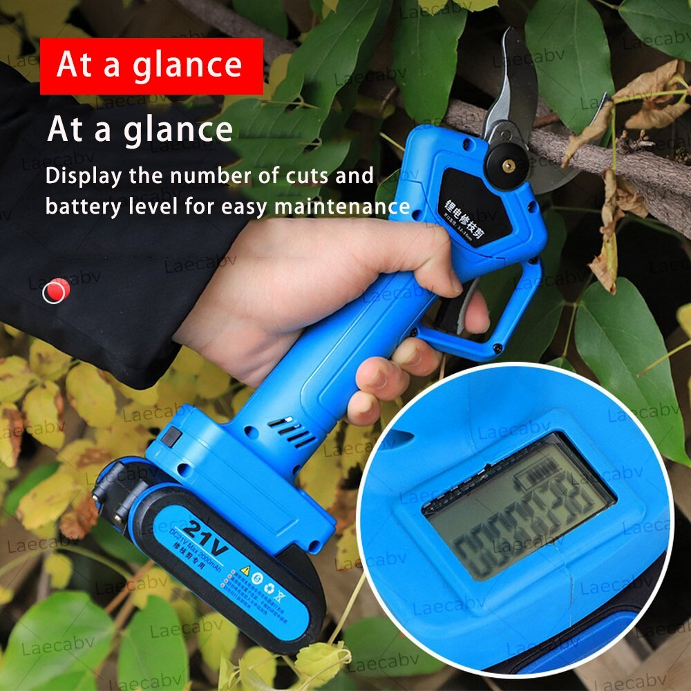 Tijeras podadoras eléctricas con pantalla de potencia de 21V, tijeras para cortar con 2 baterías fruta, árbol de fruta, 35mm