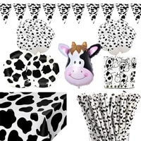 farm cow theme birthday party animal party cow decoration disposable cup plate tablecloth baby shower balloon decoration