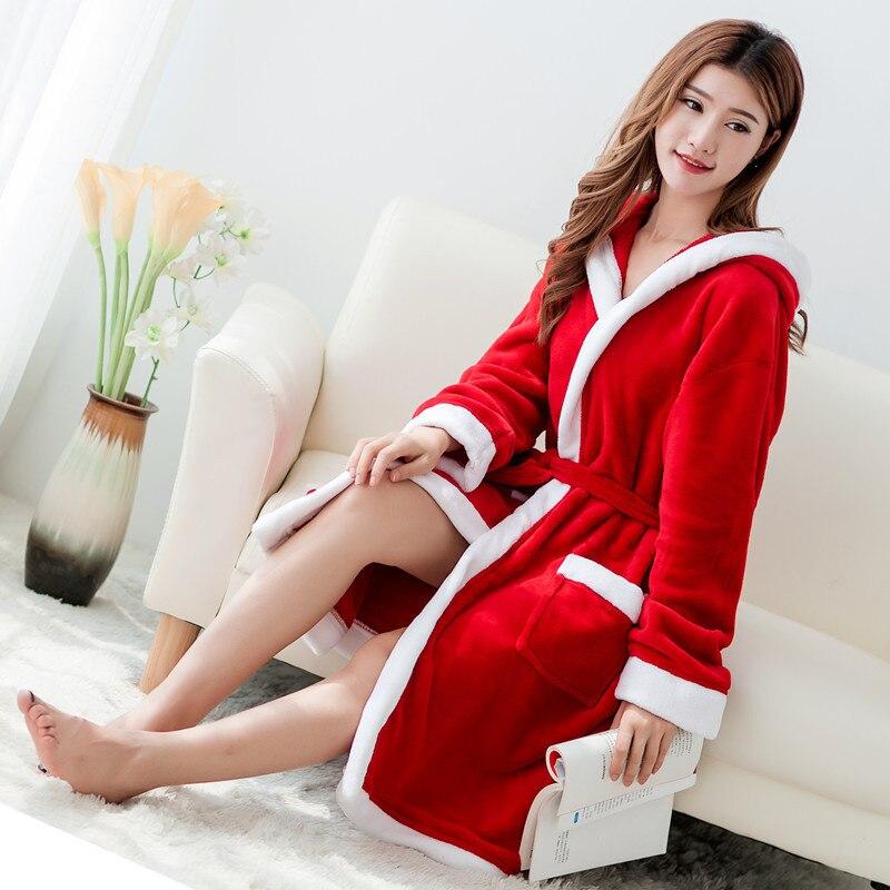 Albornoz de Navidad, albornoz rojo de felpa, ropa de dormir de lujo a media pantorrilla para hombres, bata de franela con capucha para mujeres, pañoleta de franela, pañoleta de lujo para hombres