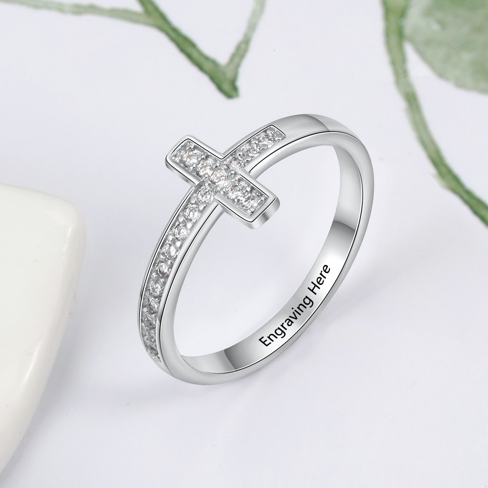 925 Sterling Silver Personalized Cross Sideway Engraved Rings for Women with Cubic Zirconia Custom Names Jewelry Gifts