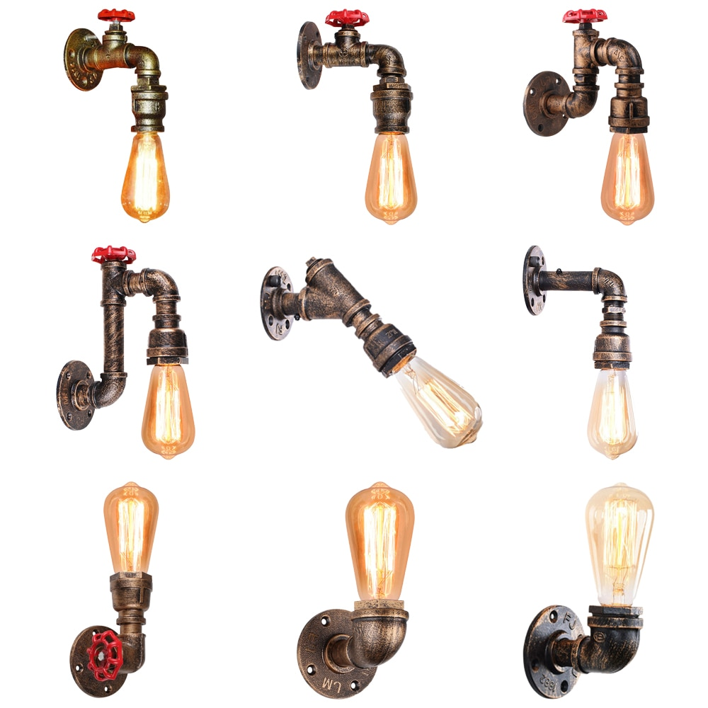 American Vintage Wall Lamps Single-Head Bedside Lamp Industrial Home Wall Lights Retro Iron Rust Water Pipe Light Sconce Decor wood iron wall lamps vintage sconce wall light fixture e27 220v bedside retro lamp industrial decor dining room bedroom light