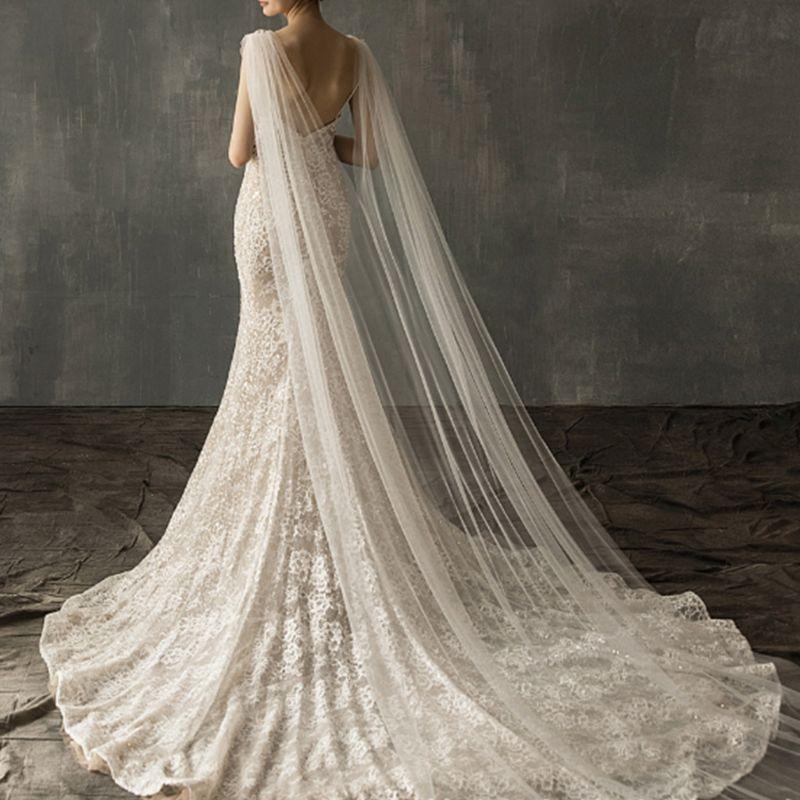 Женские тюлевые Свадебные накидки длиной до пола с имитацией кристаллов и цветочной аппликацией, свадебные длинные накидки