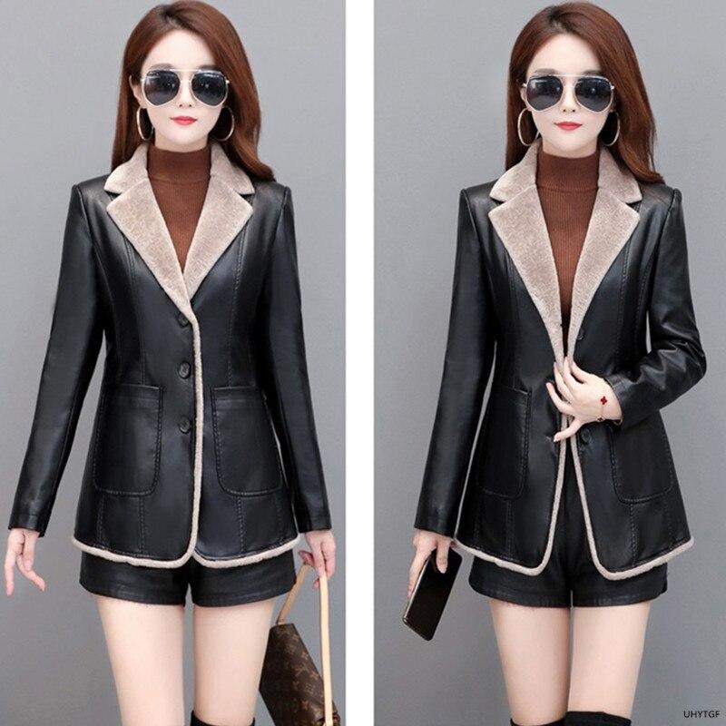 UHYTGF Quality Sheepskin Autumn Winter Leather Jacket Women Fashion Pocket Slim Plus Size Coat Wild Warm Casual Short Tops 1869 enlarge