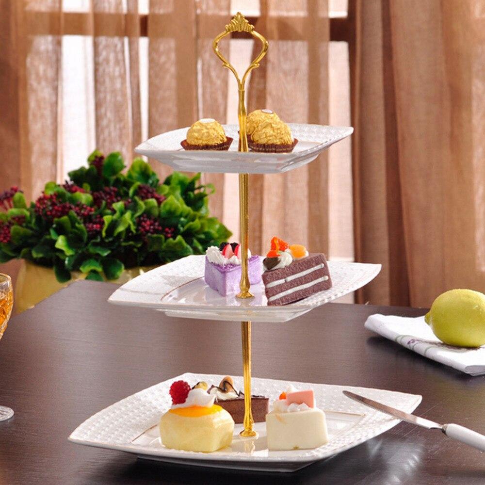 6 colores 1 juego 2 o 3 niveles mango de soporte para bandeja de pastel corona accesorio Metal boda fiesta plata oro