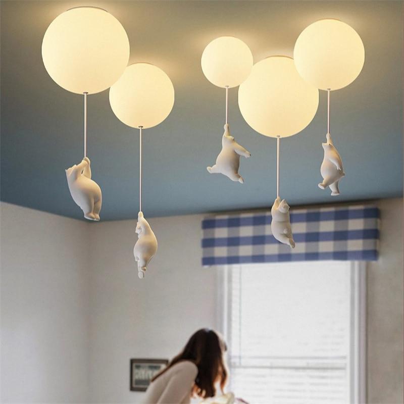 urso dos desenhos animados modernos luzes de teto led calor lampadas teto para casa