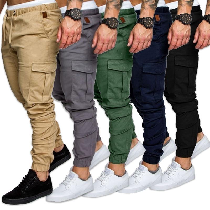 Брюки-карго мужские, джоггеры, спортивные штаны, однотонные брюки-карго с несколькими карманами, длинные штаны