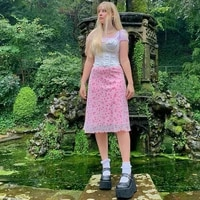 2021 summer wind long over knee a line skirt womens mesh perspective pink small floral skirt