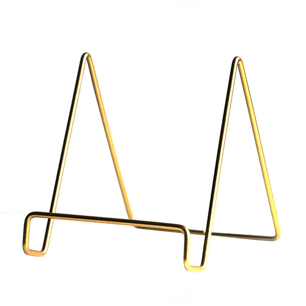 Soporte de libro de oro nórdico, decoración de arte del hierro para la sala de estar, soporte de placa multiusos, estante de almacenamiento práctico para mostrar imágenes para el hogar