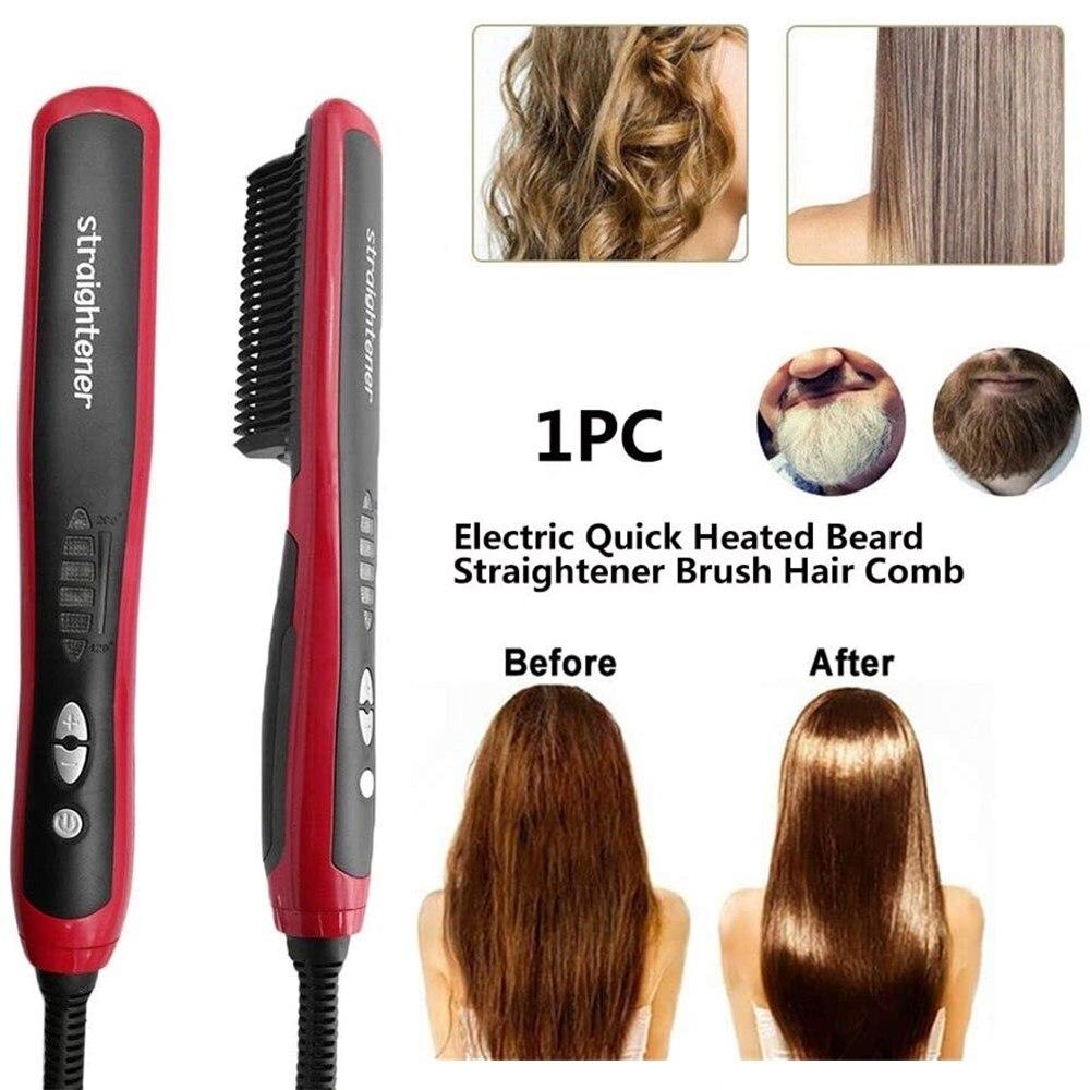quente pente maquina de cuidados com o cabelo multifuncional alisador barba calor