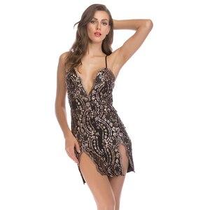 Summer Women New Sequin Sexy Mini Dress Elegant Off Shoulder Backless V-neck Skinny Short Dress Ladies Party Night Dresses