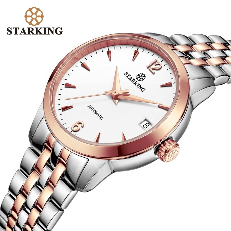 STARKING Women Watches Top Brand Luxury Rose Gold Lady Watch Stainless Steel Dress Mechanical Wrist Gift