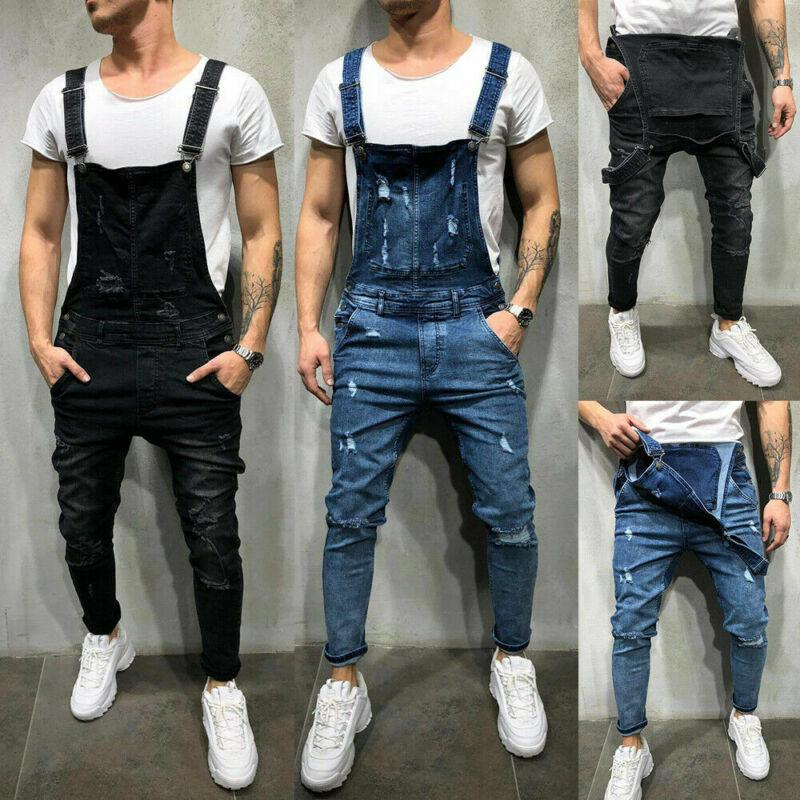 Mens Ripped Denim Jeans Men Fashion 2021 Spring Autumn Overalls Dungarees Bib Pants Jumpsuit Casual Trousers