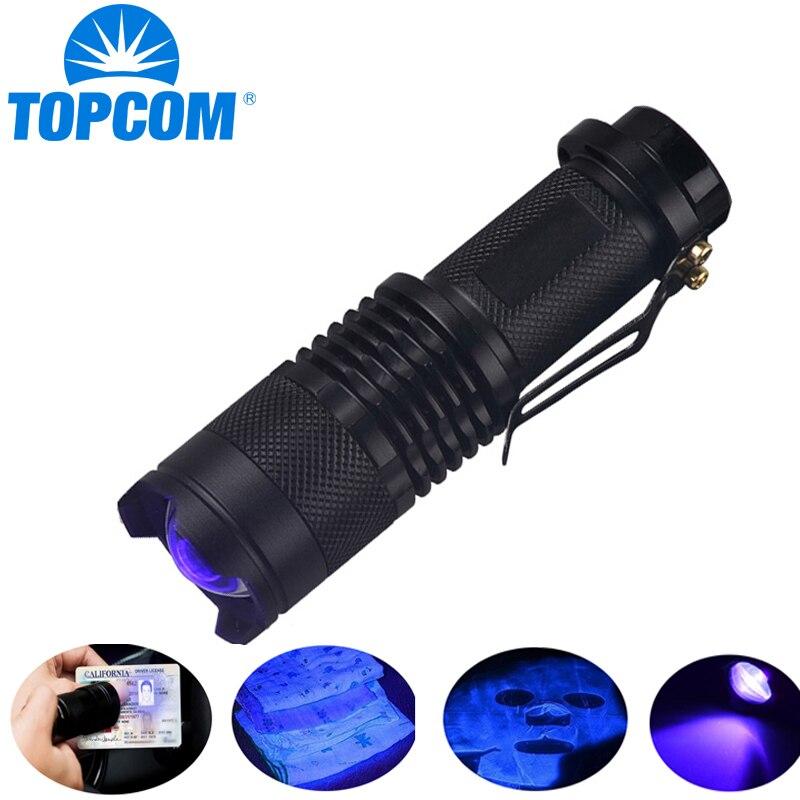 TopCom 365nm 395nm XPE UV de luz negra escorpión luz UV para orina Detector Zoomable 395nm ultravioleta linterna