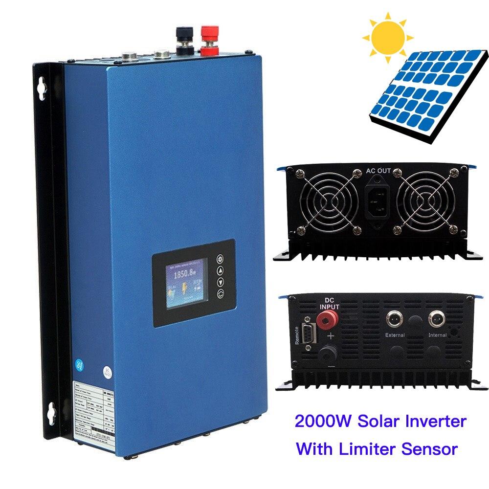 2000 واط الشمسية على محوّل ربط شبكي مع محدد الاستشعار MPPT 45-90VDC نقية شرط موجة Inversor تفريغ البطارية 230VAC للوحة