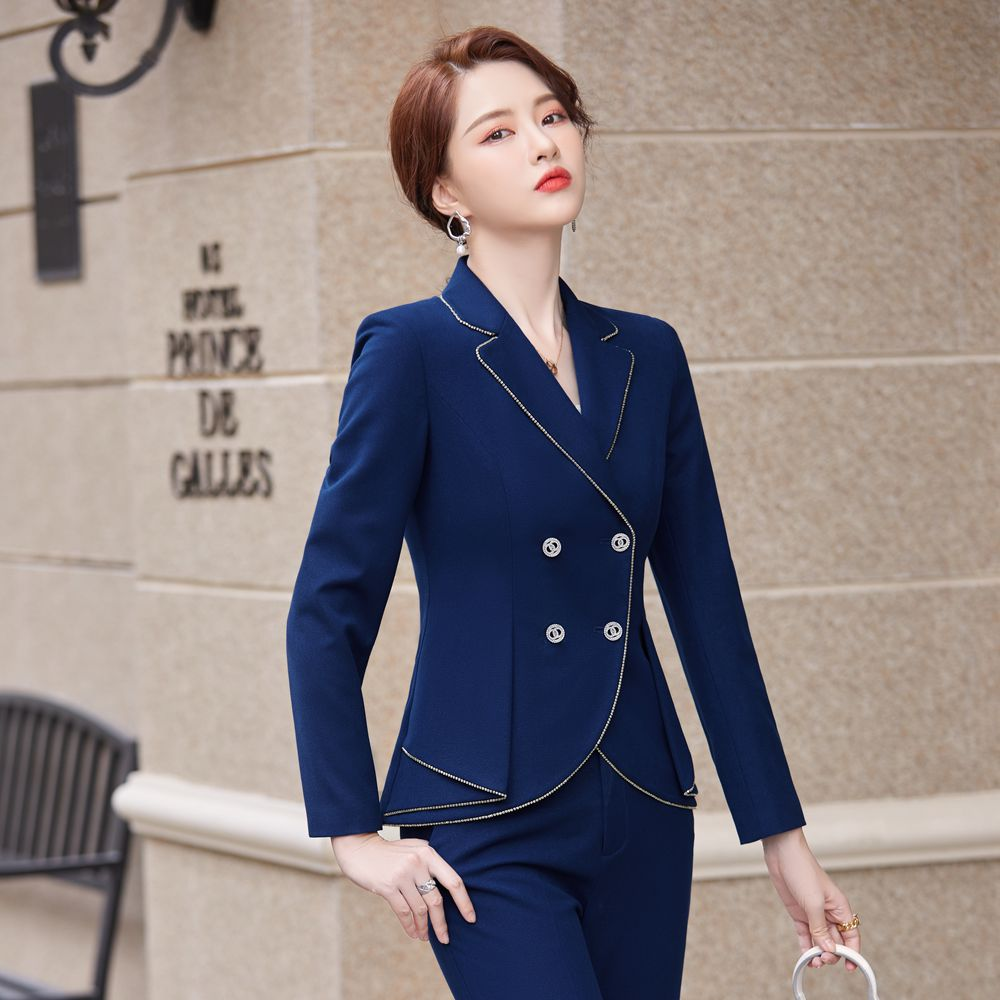 2021 New Autumn and Winter Women's Professional Wear Casual Office Sets Double Breasted Ladies Jacket Two-piece Fashion Trousers