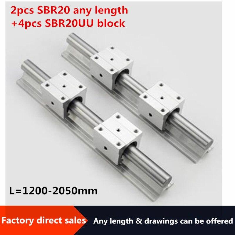 Sbr trilho linear 2 pces sbr20 20 20mm trilho linear qualquer trilho de guia de comprimento + 4 pces sbr20uu slide bloco para peças cnc