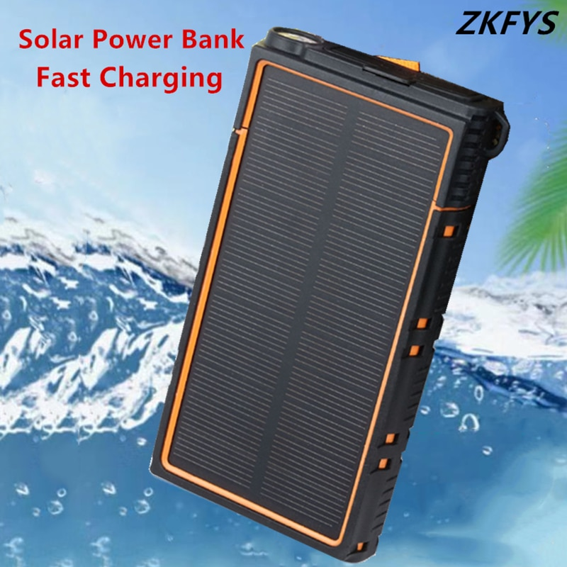 防水太陽光発電銀行 10000mAh ポータブル外部バッテリー携帯電話充電器パック LED 照明 USB ポート旅行充電器