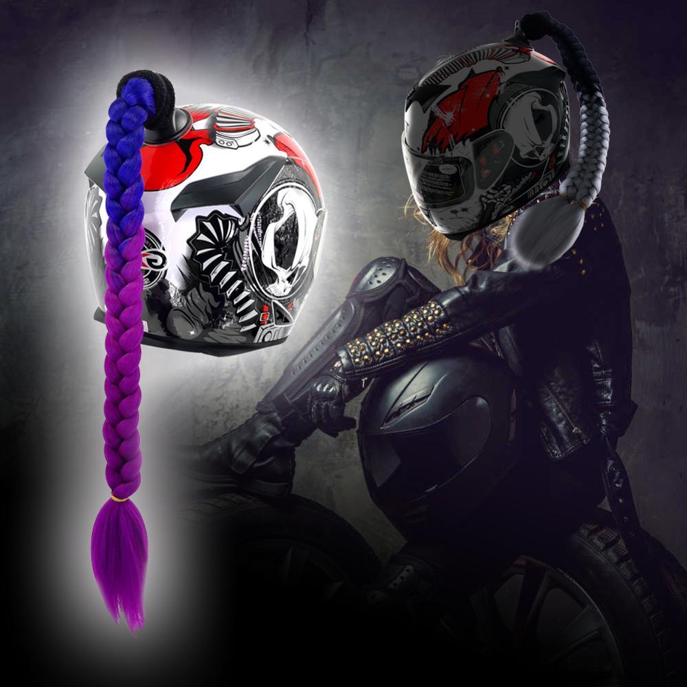2020 New Motorcycle Helmet Braids Woman Braids Wig For Motorbike Helmets 22 Colors Twist Dual Pigtail Ponytail With Sucker Bow