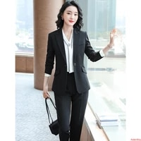 2020 black business ladies womens pant suit autumn and winter trousers 2 pieces office work wear pants suits for women clothes