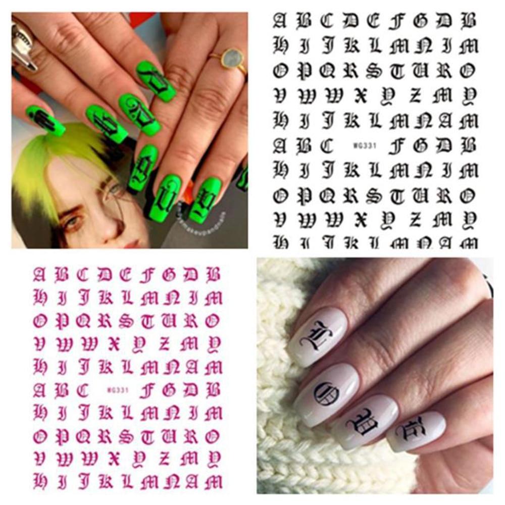 ABC carta arte de uñas calcomanías pegatinas inglés viejo fuente número negro...