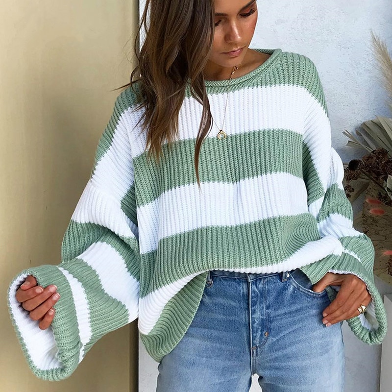Zoulv Fashion Striped Loose Ladies Sweater Pullover 2021 Spring Autumn Green Jumpers Knit Sweaters Elegant Women  Korean Tops