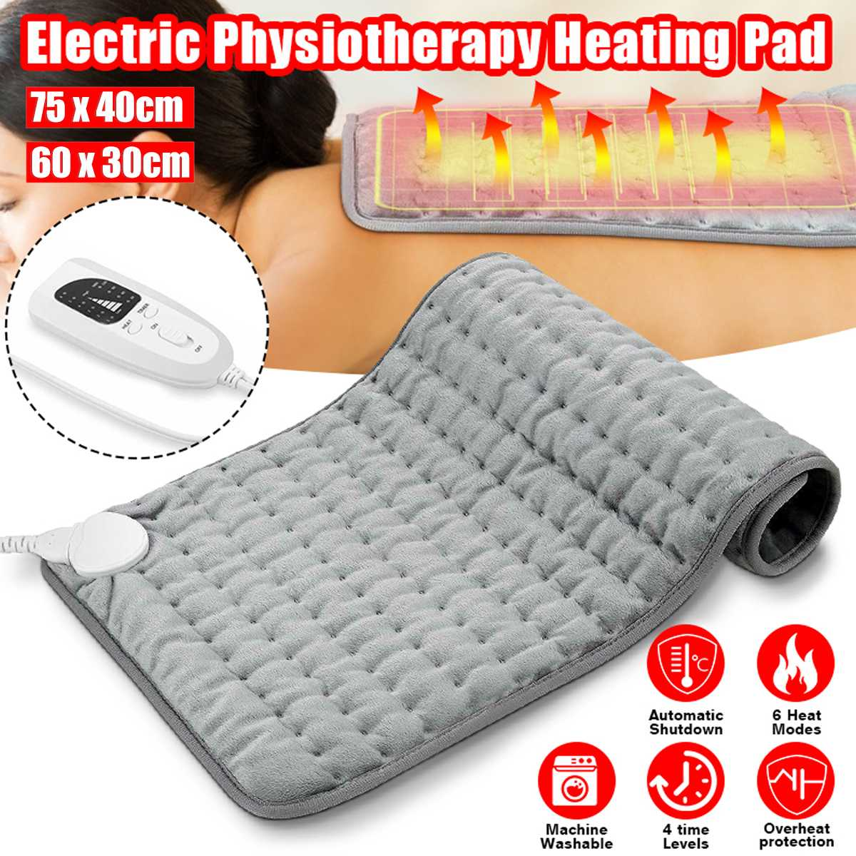 6 Level 120W Electric Heating Pad Timer For Shoulder Neck Back Spine Leg Pain Relief Winter Warmer 75x40cm 60x30cm EU/US/UK/AU