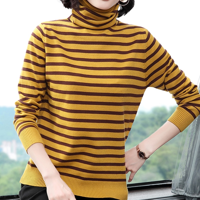 women pullover loose embroidery knitted solid color long sleeve jumper streetwear sweaters tops pullovers female clothes autumn Striped Knitted Sweater Women 2020 Autumn Winter Korean Loose Turtleneck Sweaters Long Sleeve Pullover Female Jumper Clothes