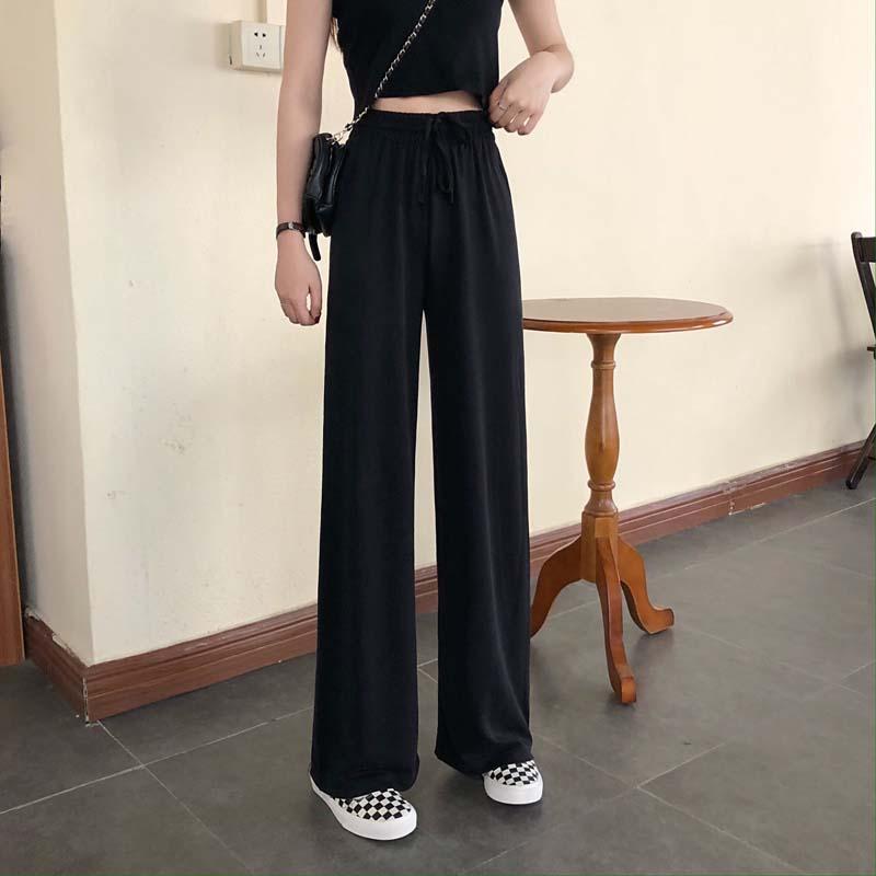 Black Wide-Leg Pants Women's High Waist Mop Pants 2021 New Slimming Loose Casual Drape Elastic-Waist