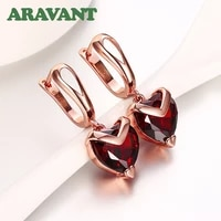2021 new arrival rose gold color heart natural cubic zircon drop earrings for women dangle earring jewelry gifts