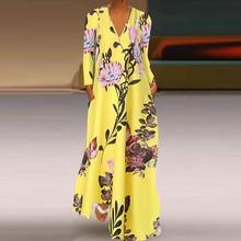 Fashion Women Casual Plus Size S-5XL V-Neck Flower Print Long Sleeve Loose Long Party Dress Wholesale Free Ship платье Z4