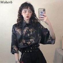 Woherb Vintage Leopard Blouse Women Harajuku Animal Print Shirt 2020 Summer Ladies Loose Blusa Streetwear Camisas Mujer 21976