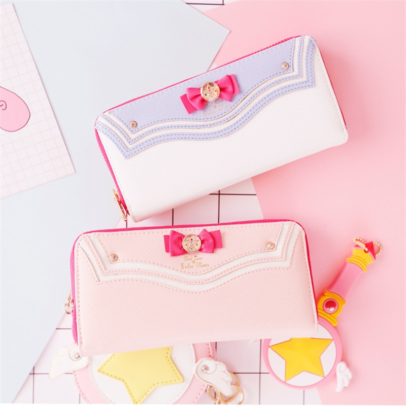 Anime  Mini Women's Cute Bows Short Wallet Lady Girls Hasp Card Holder Clutch Coin Purse PU Leather New