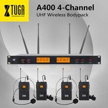XTUGA A-400 matériel en métal 4 canaux UHF système de Microphone sans fil avec 4 BodyPack pour scène église fête de famille petit karaoké