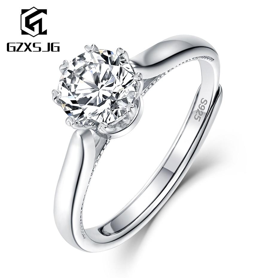 GZXSJG 1ct Moissanite Rings for Women 925 Sterling Silver Ring D color Moissanite Ring for Wedding Bride Engagement Fine Jewelry
