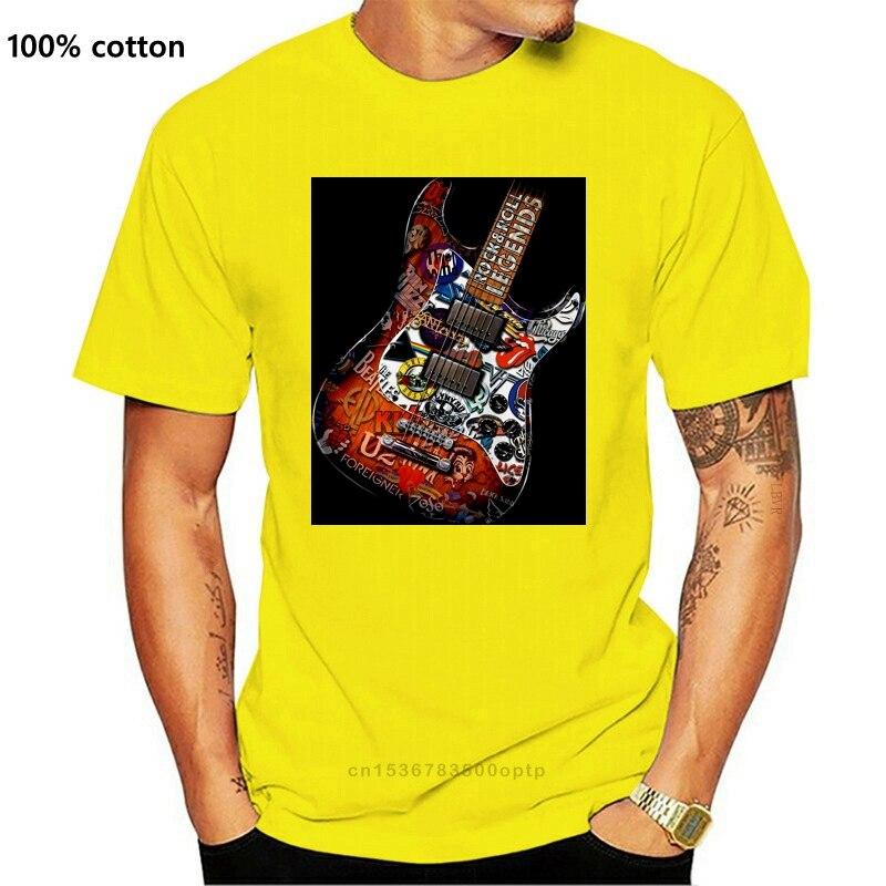 Rock n roll legends guitarra manga curta t camisa (2)