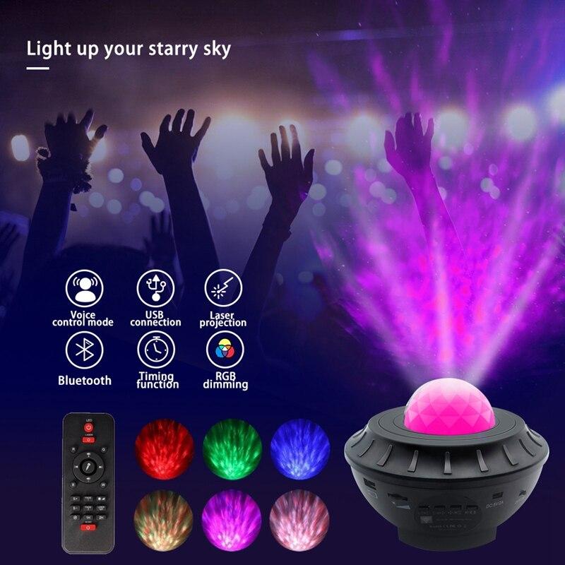 جهاز عرض LED مع تحكم صوتي للأطفال ، بلوتوث ، USB ، مشغل موسيقى ، ضوء ليلي ملون ، سماء مرصعة بالنجوم ، مجرة ، هدية