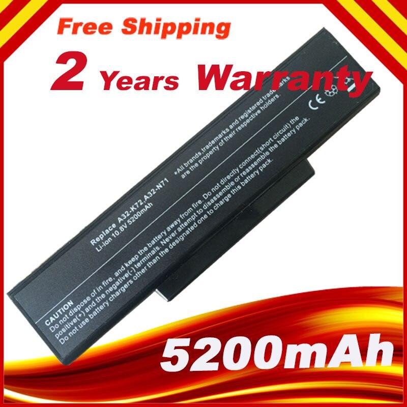 Batería de portátil para Asus A32-N71 A32-K72 K72 K72F K72D K72DR K73 K73SV K73S K73E N73SV 6 células envío gratuito