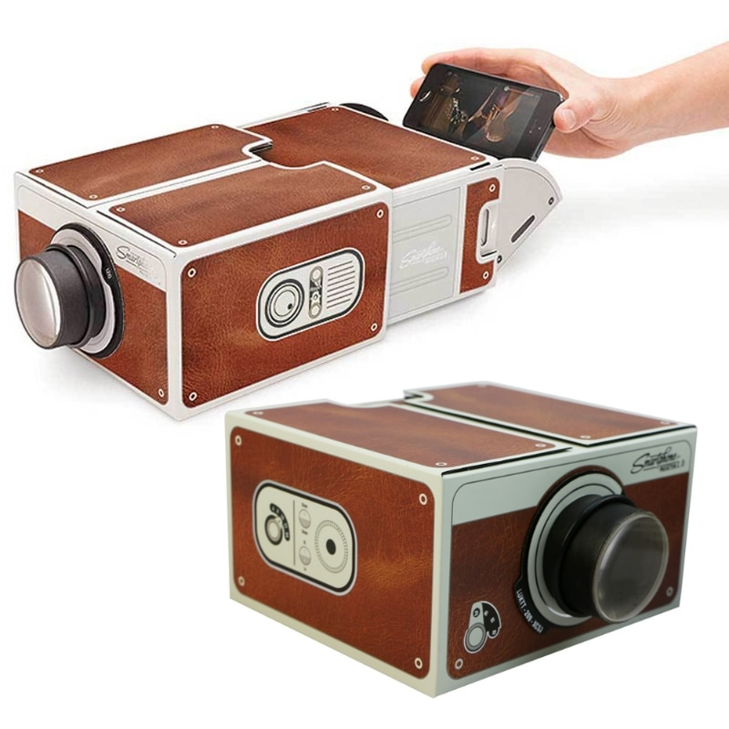 SIV, caja portátil, proyector para teléfono inteligente 2,0, montaje, proyector de cine para teléfono