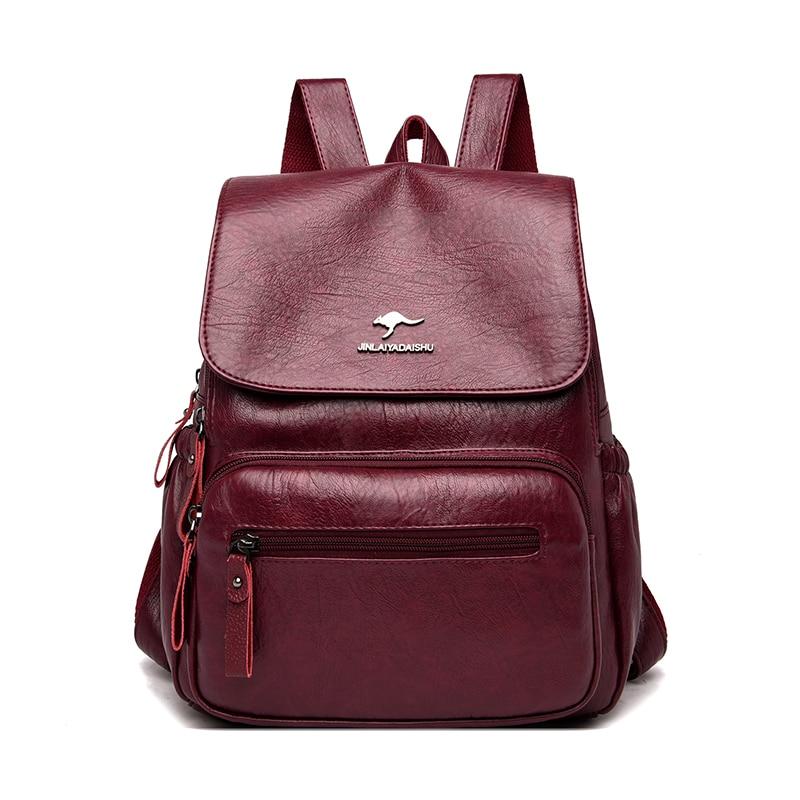 Женский винтажный рюкзак Sac A Dos, школьные сумки для девочек, большой вместительный дорожный рюкзак, роскошный кожаный женский рюкзак
