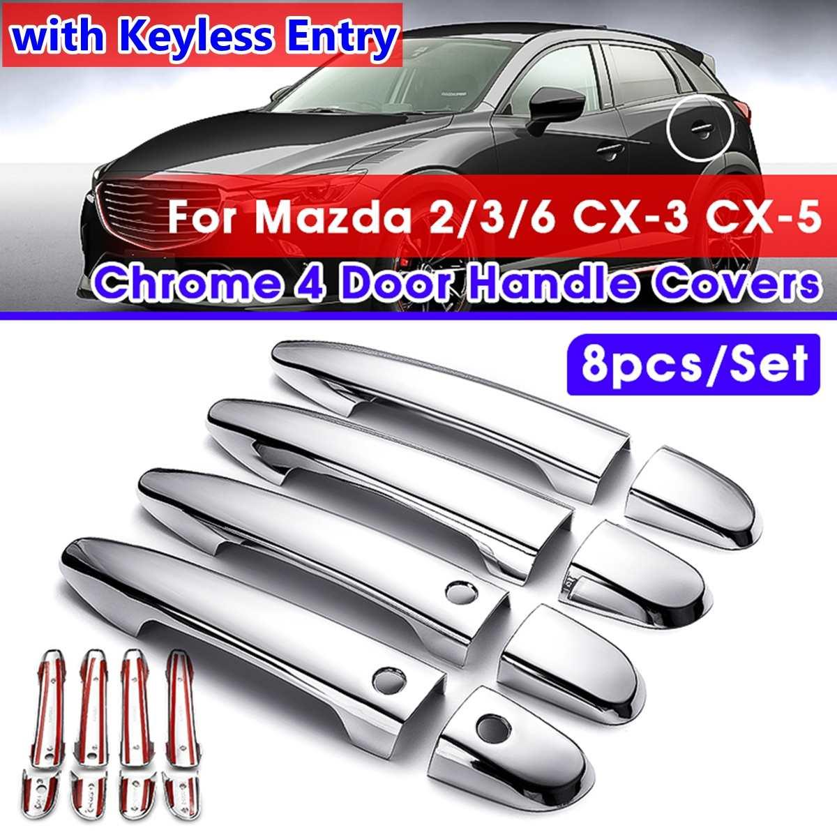 8 Uds coche cromo carbono mano izquierda manija de la puerta pegatina cubierta para Mazda 2 3 6 cx 3 cx-3 cx-5 2014 2015 2016 2017 2018 estilo