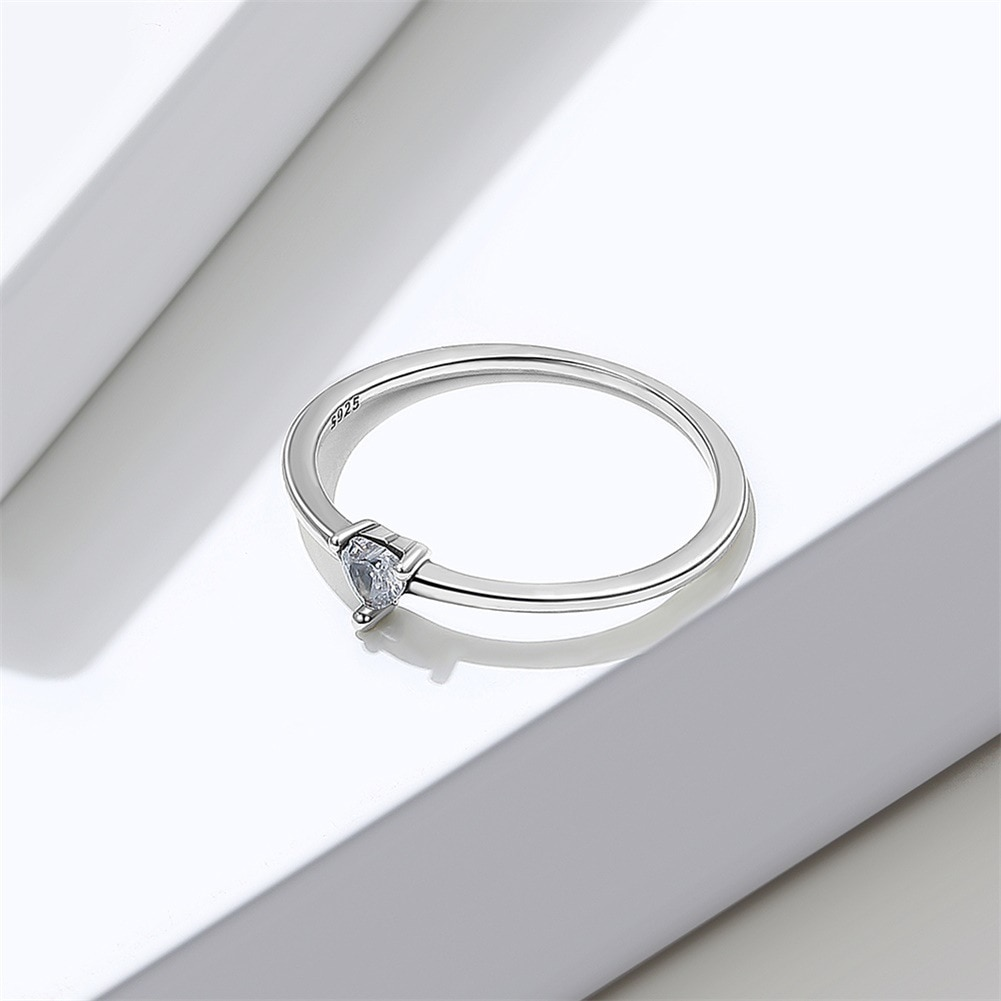 VENTFILLE 925 Sterling Silver Rings For Women Heart Clear Simple Finger Rings Birthday Party Romanti