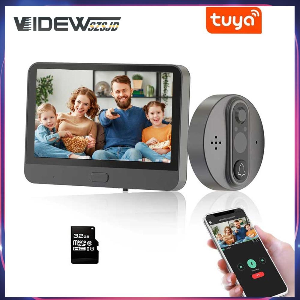 Video Doorbell Wifi Digital Peephole Door Bell Camera Tuya Smart House Door Viewer