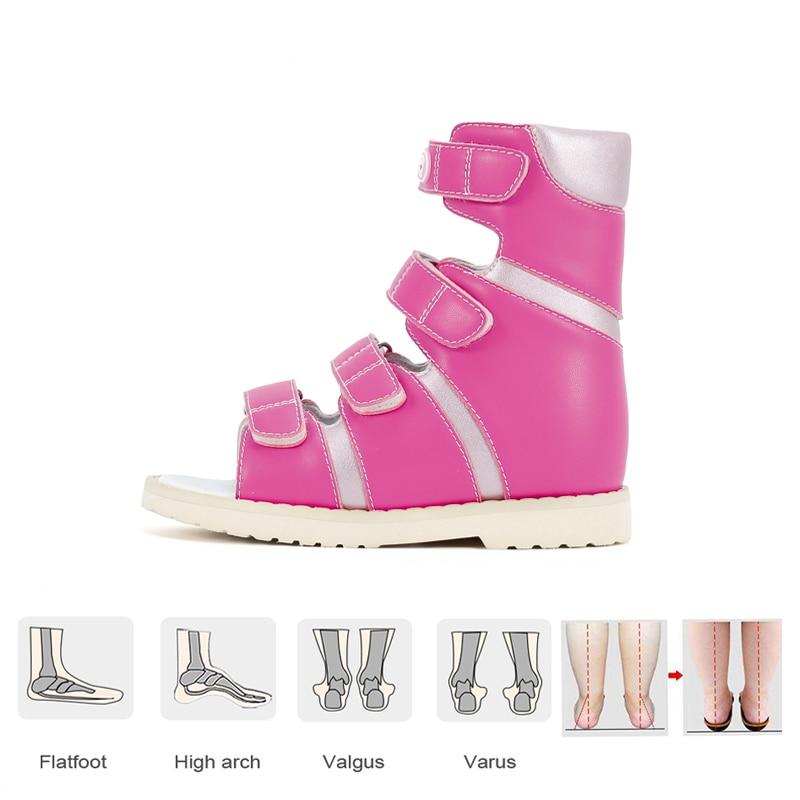 Ortoluckland Children's Orthopedic Shoes Girls Pink High Top Sandals For Baby Toddler Boys Correct Supinator Pronator Flatfeet