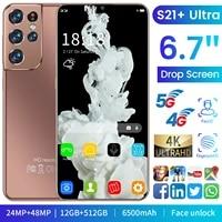 hot sell 6 7 galay s21 ultra 5g phone 6500mah big battery 12gb512gb mtk6889 cellphone face id unlock global versionsmartphone