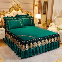 thicken crystal velvet lace bed skirt luxury embroidered bedspread on the bed skin soft sleeping queen king mattress cover set