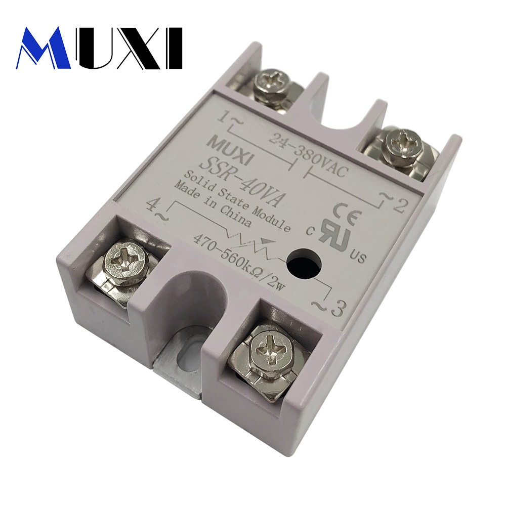 MUXI Brand New Voltage Transformer 10A 25A 40A DC/AC 3-32V TO 24-380V AC SSR-(10/25/40)-DA/AA Solid State Relay Module