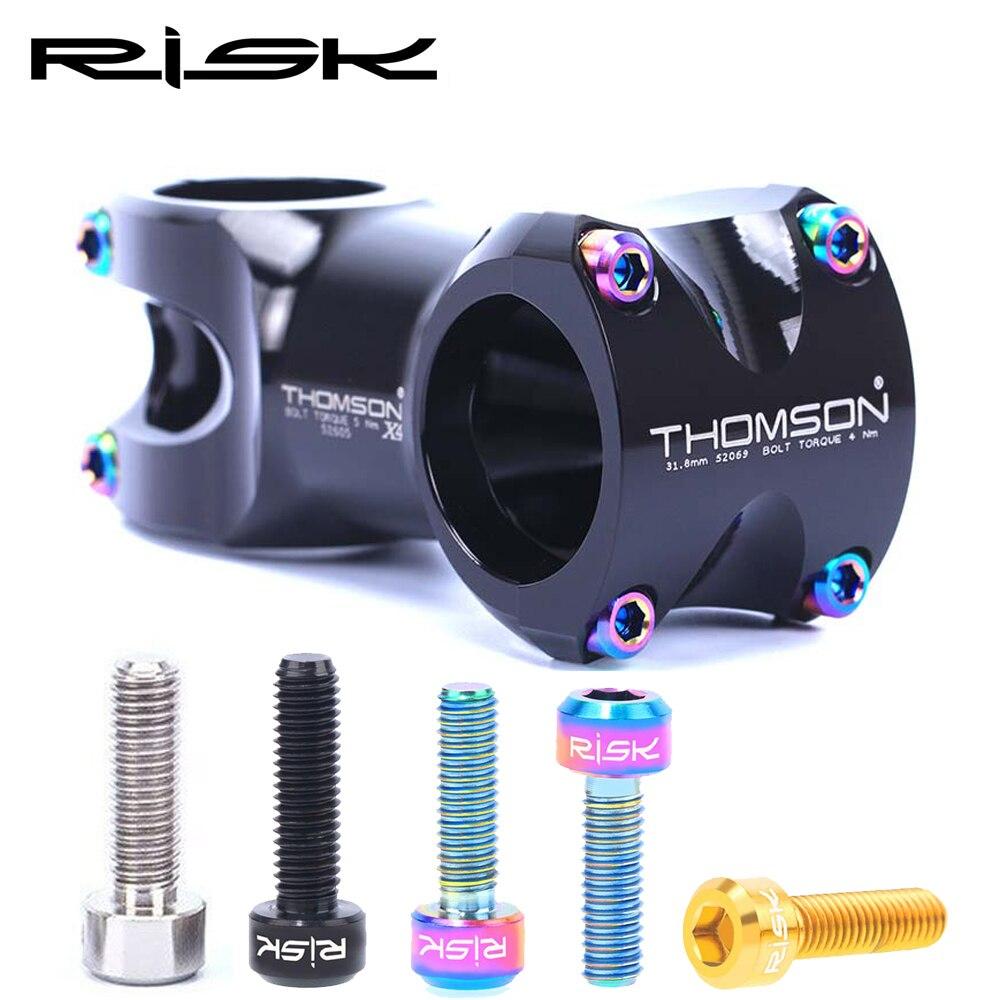 Риска 6 шт 5x16/18 мм Титан болт для Велосипедный вынос руля крепежные винты MTB руль для горного велосипеда или подседельный штырь с фиксатором застежка-молния