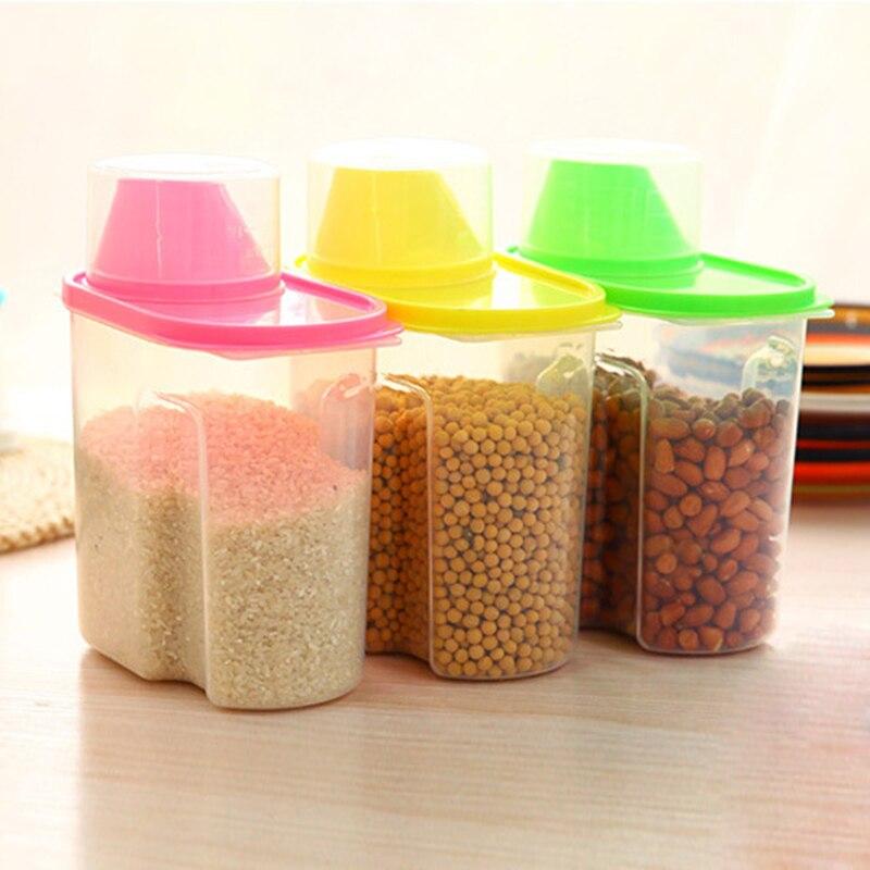 1.9L Transparent Nut Container With Pour Lid Kitchen Cereals Storage Bottle Rice Beans Jar Dried Grains Tank Plastic Food Box