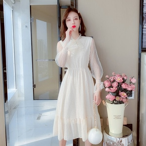 French New Style Ladies Dress Mid-length Mesh Yarn Stitching Bow Tie Elegant and Fresh Home Wear Evening Dress